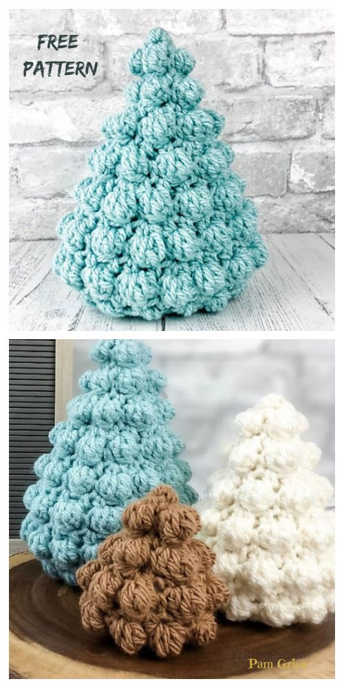 Bobble Christmas Tree Free Crochet Patterns + Video