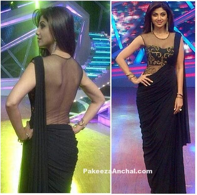 Shilpa Shetty in SonaakShi Raaj's Black Saree with Sheer Transparent Blouse-PakeezaAnchal.com