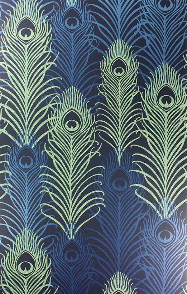 Englische Tapete Osborne & Little by Matthew Williamson PEACOCK Eden grün blau schwarz Pfauenfedern