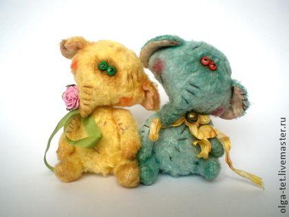 Слоники Ми и Мо - жёлтый,зеленый,мишки тедди,милый подарок,друзья тедди