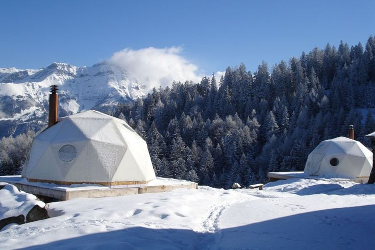 The Whitepod eco resort located in the village of Les Cerniers in the Swiss Alps combines a private ski resort, mountain chalets and 15 geodesic-dome pods that offer low impact accommodations.