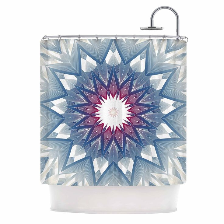 "Angelo Cerantola ""Starburst"" Blue Digital Shower Curtain"