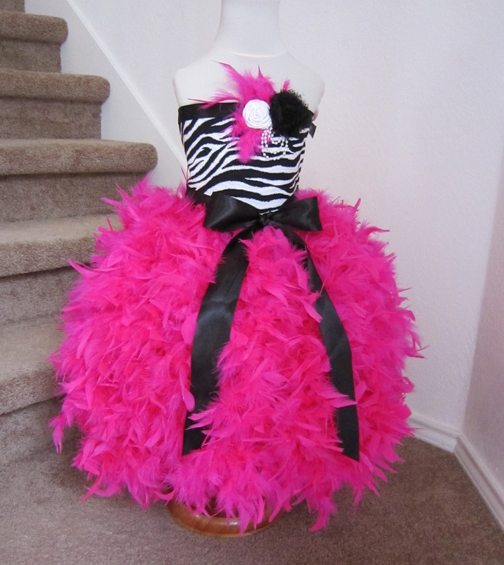 Feather Dress -  Feather Tutu Dress - Zebra Tutu Dress - Zebra Dress. $94.95, via Etsy.