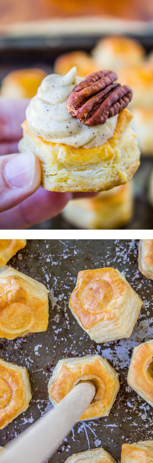 Cream Cheese Pumpkin Puffs from The Food Charlatan // These bite-sized puffs could either be a quick appetizer or the easiest dessert ever!