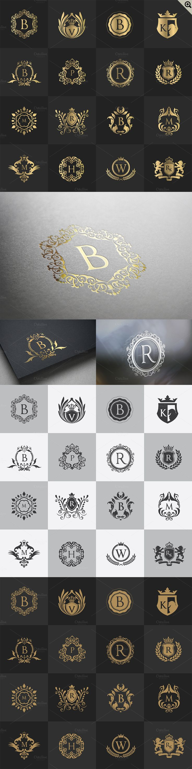 32 Luxury logo set by Super Pig Shop on @creativemarket