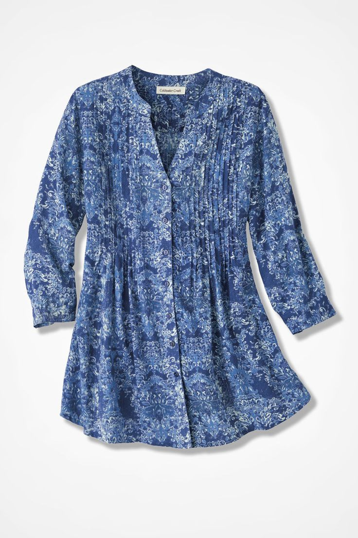 "$80.  Petite is 26"" long. They have no chest measure.  Indigo Mood Medallion Tunic - Coldwater Creek"