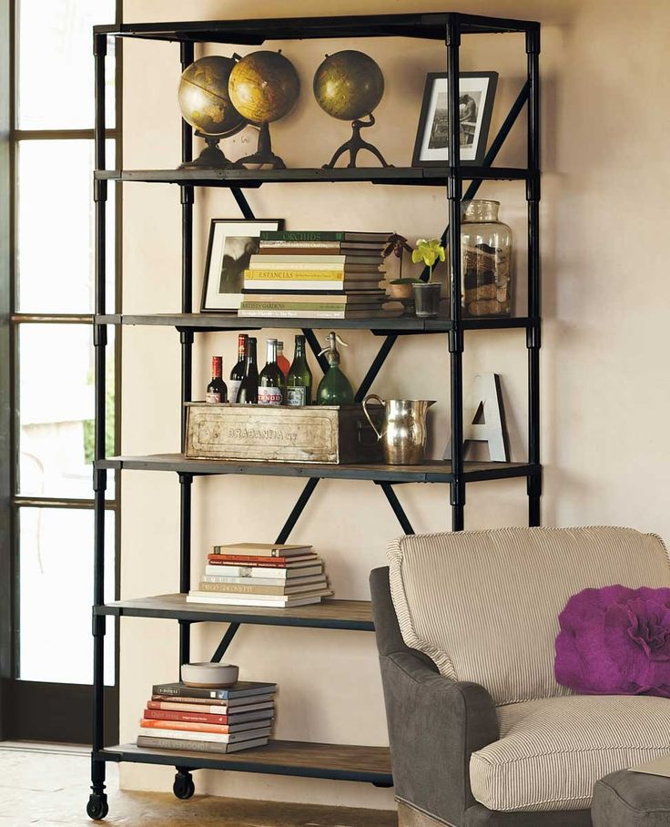 Industrial Chic Bookshelf Storage Furniture