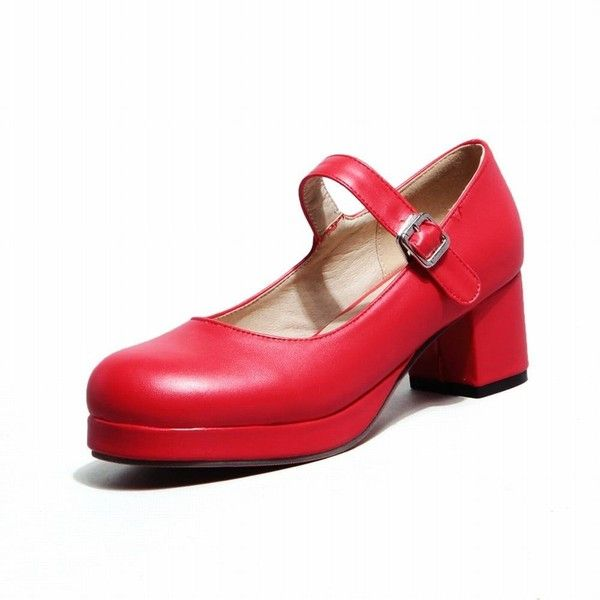 Amazon.com | Carol Shoes Women's Fashion Sweet Lolita Cosplay Buckle... (€23) ❤ liked on Polyvore featuring shoes, wide shoes, buckle shoes, wide fit shoes, wide width platform shoes and mid heel platform shoes