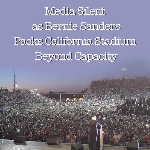 Media Silent as Bernie Sanders Packs California Stadium Beyond Capacity. 5/9/16 #BernieSanders #FeelTheBern #California