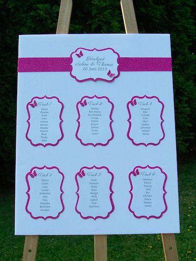 Tischplan Hochzeit, Schmetterlinge, grün, pink, lila,Tischordung Hochzeit, Table plan wedding