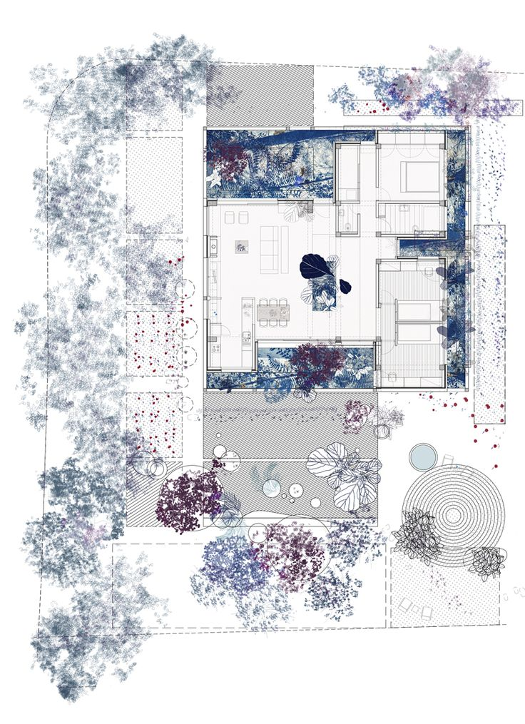 Flora, commission for a private house with four miniature gardens in Nicosia. draftworks*architects, 2015. Plan