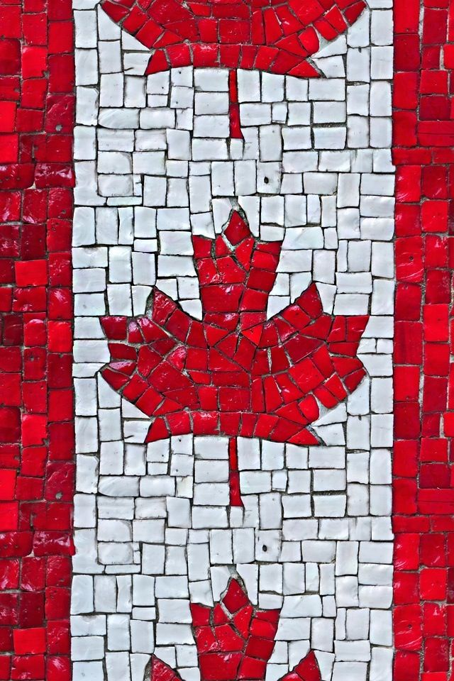 Art project: A Canadian Flag mosaic.