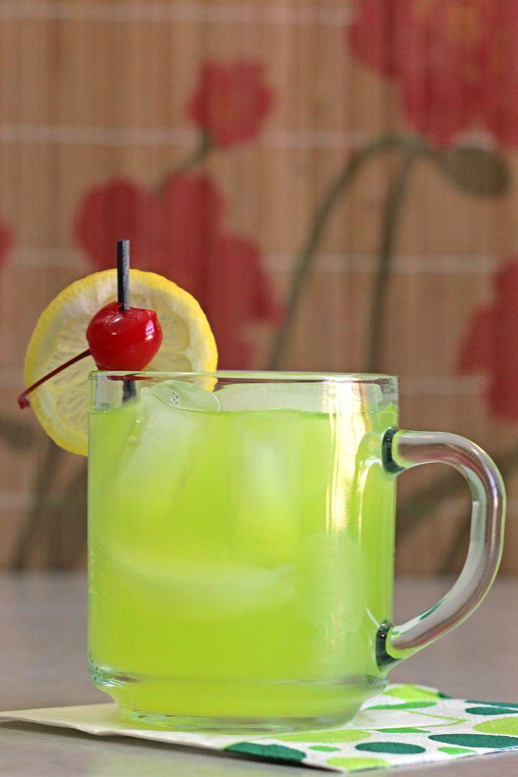 Neon Tea cocktail recipe with vanilla vodka, rum, gin, Sour Apple Pucker, triple cec, Midori and sour mix.