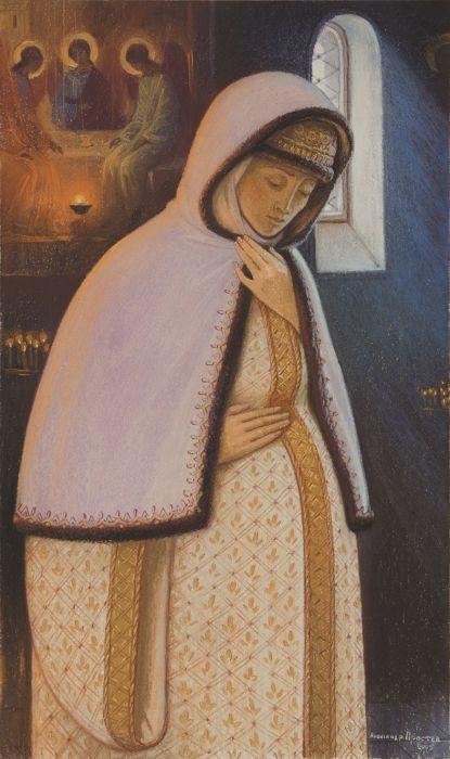 Aleksandr Prostev, Din viata Sfantului Serghie de Radonej, Maria, mama Sfantului Serghie de Radonej rugandu-se