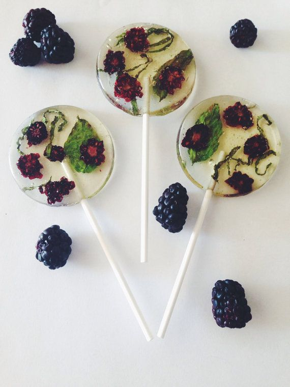 3 Organic Blackberry And Basil Lollipops от asecretforest на Etsy