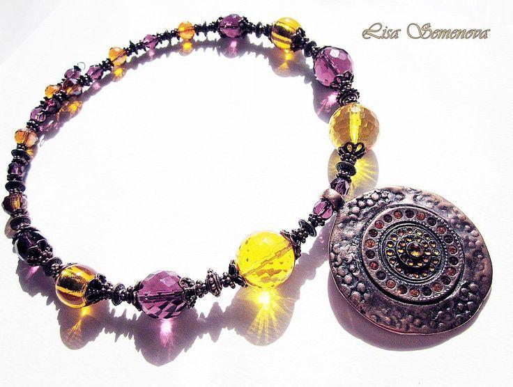 """Купить -25% Комплект """"Медное солнце"""" - Янтарный, Медовый, аметистовый, комплект украшений, ожерелье с подвеской"""