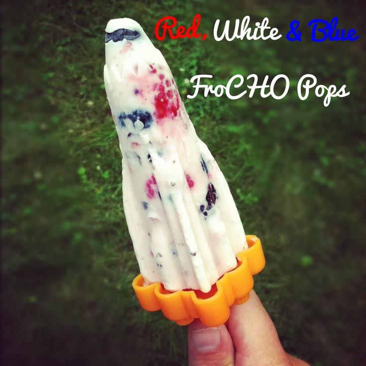 Oh-so-festive FroCHO Pops!Chobani Yogurt, Frozen Yogurt, Yogurt Pop, Red White Blue, Ice Pop, Chobani Greek, Blue Frocho, Frozen Pop, Fruit Popsicles
