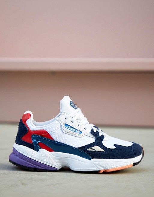 86202af3e20bf adidas Originals white and navy Falcon trainers in 2019