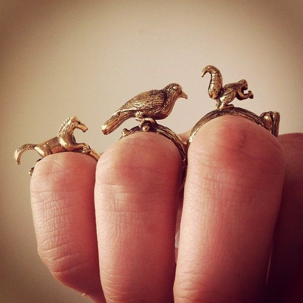 brass rings: Forests, Cute Animal, Beautiful Jewelry, Disney Princesses, Brass Rings, Fingers, Animal Rings, Accessories, Birds