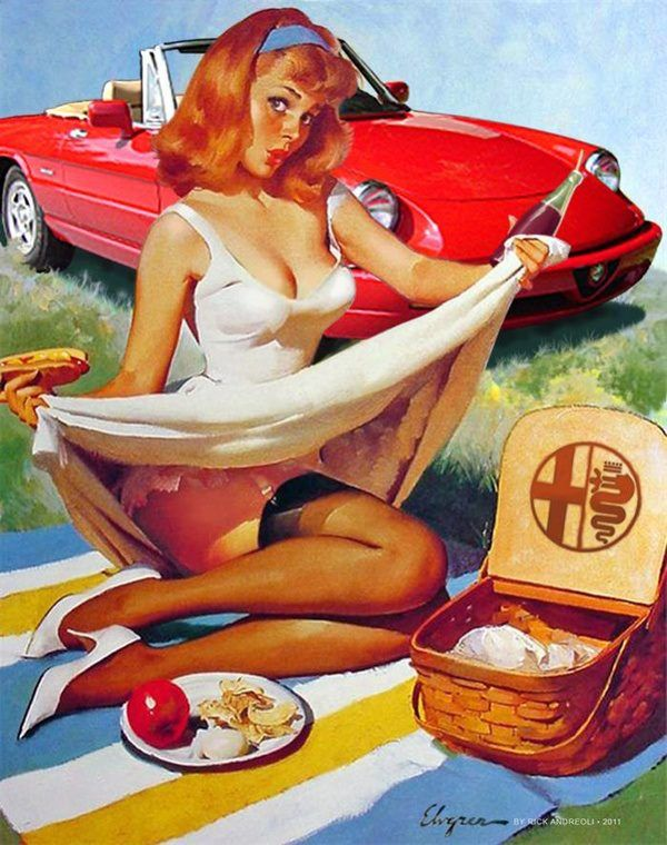 Vintage Italian Posters ~ #Italian #vintage #posters ~ Alfa picnic pin-up chic