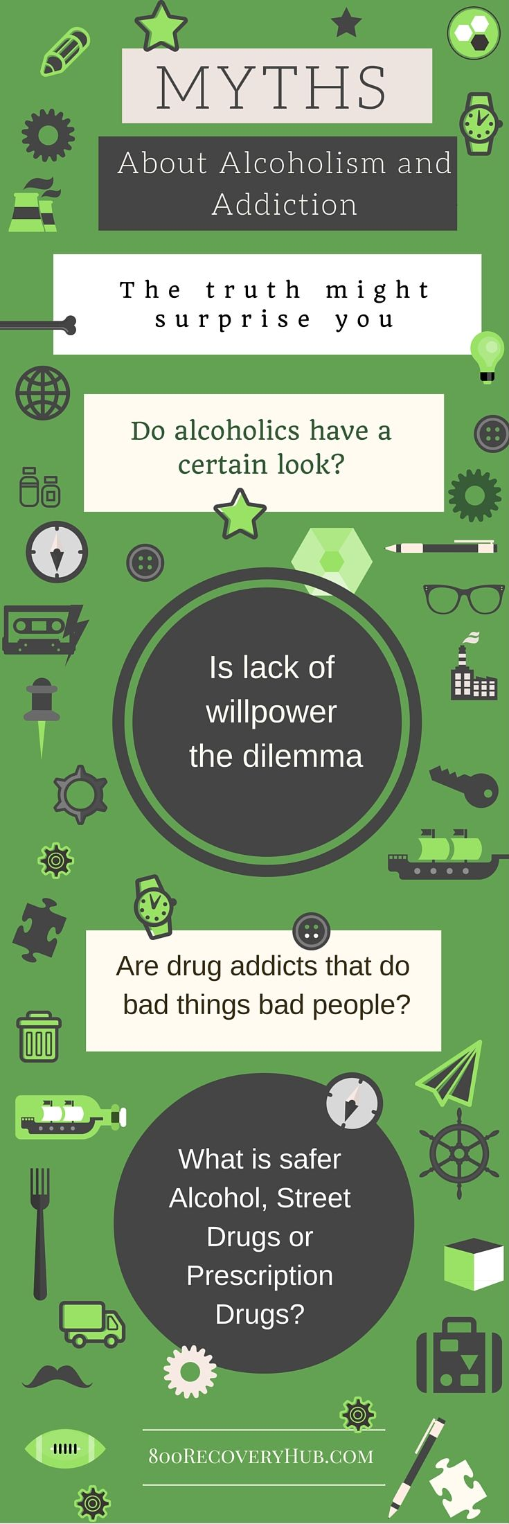 There are many drug addiction and alcoholism myths. Addiction is not a lack of willpower, alcoholics don't drink out of brown paper bags. Learn the truth and clear up any confusion you have about the disease. It is treatable.