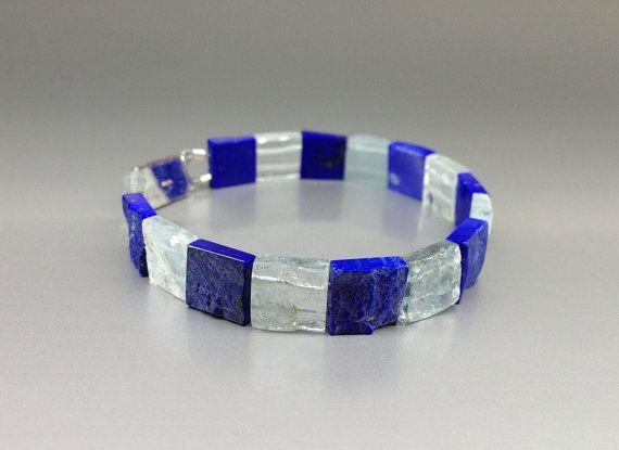 A maritime jewel, a stunning bracelet of natures best, raw Aquamarine and Lapis Lazuli. by lapislazulisamos. Explore more products on http://lapislazulisamos.etsy.com