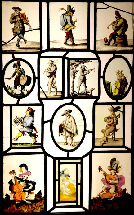 Lazar's Early Music | Early Musical Instruments Online  Ely Cathedral Stained Glass Museum  Musicians  Dutch, 1700s  From the 18th century collection of Sir Thomas Naeve of Dagnam, Essex (lent by David King)