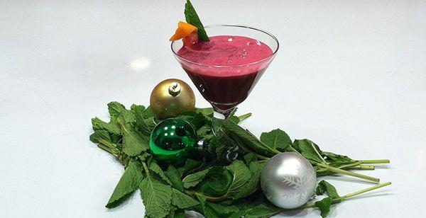 ... beets, red apple, orange, vodka (optional) - garnish with mint & slice