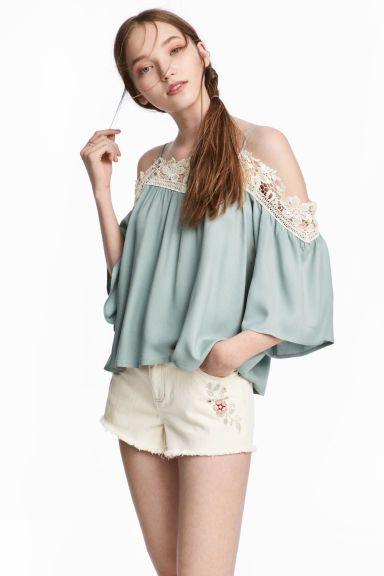 Bluzka z odkrytymi ramionami - Bladozielony - ONA | H&M PL