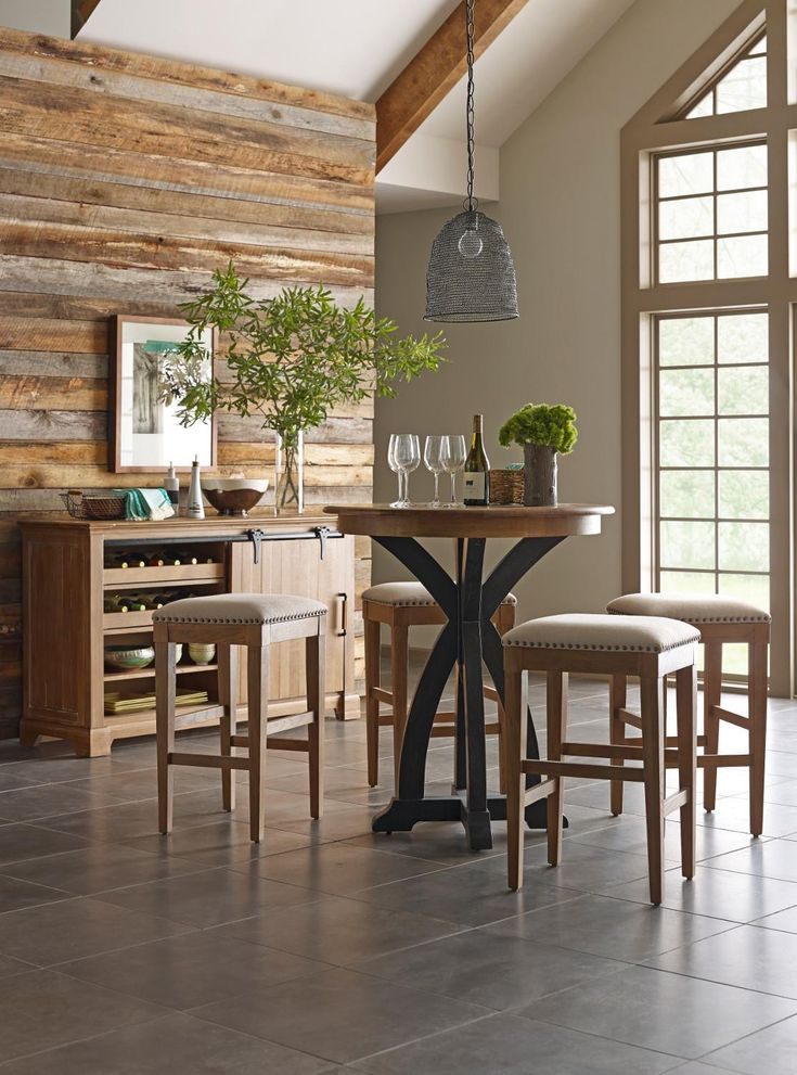 Kincaid Furniture Stone Ridge Transitional Rustic Round Bistro Table    Belfort Furniture   Pub Table