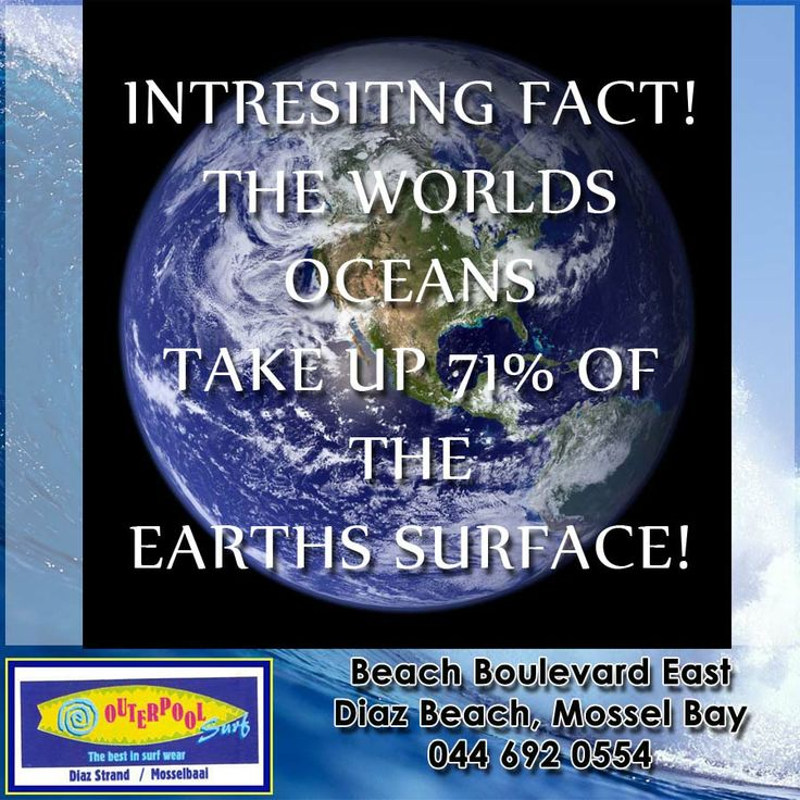 Interesting Fact! Salt water oceans make up 71% of the Earth's surface, which the other 29% made up of the Earth's continents and islands. But there are also freshwater lakes and glaciers that cover the Earth's surface. #Ocean #water #earthssurface