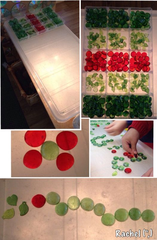 """Glass pebbles on the lightbox, inspired by The Very Hungry Caterpillar - from Rachel ("""",)"""