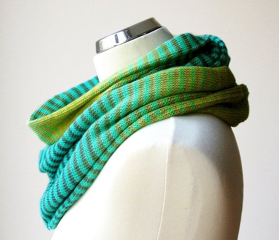 Cotton knit infinity scarf in the shades of turquoise and green with stripes. Colorful, ombre knit circle scarf by rukkola on Etsy. #knitinfinityscarf #cottonknitscarf