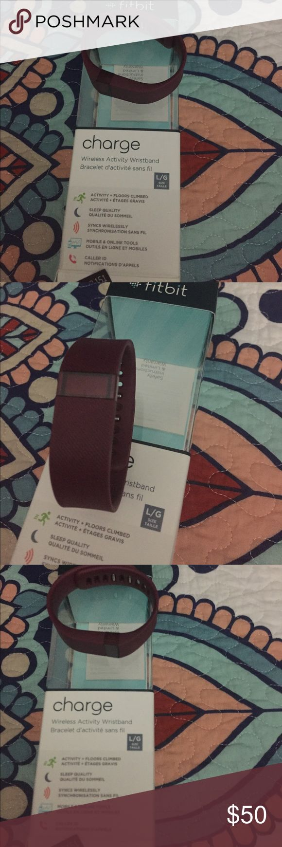 Fitbit charge Burgundy Fitbit charge with box. Worn for a short period of time. Excellent condition! Size large fitbit charge Other