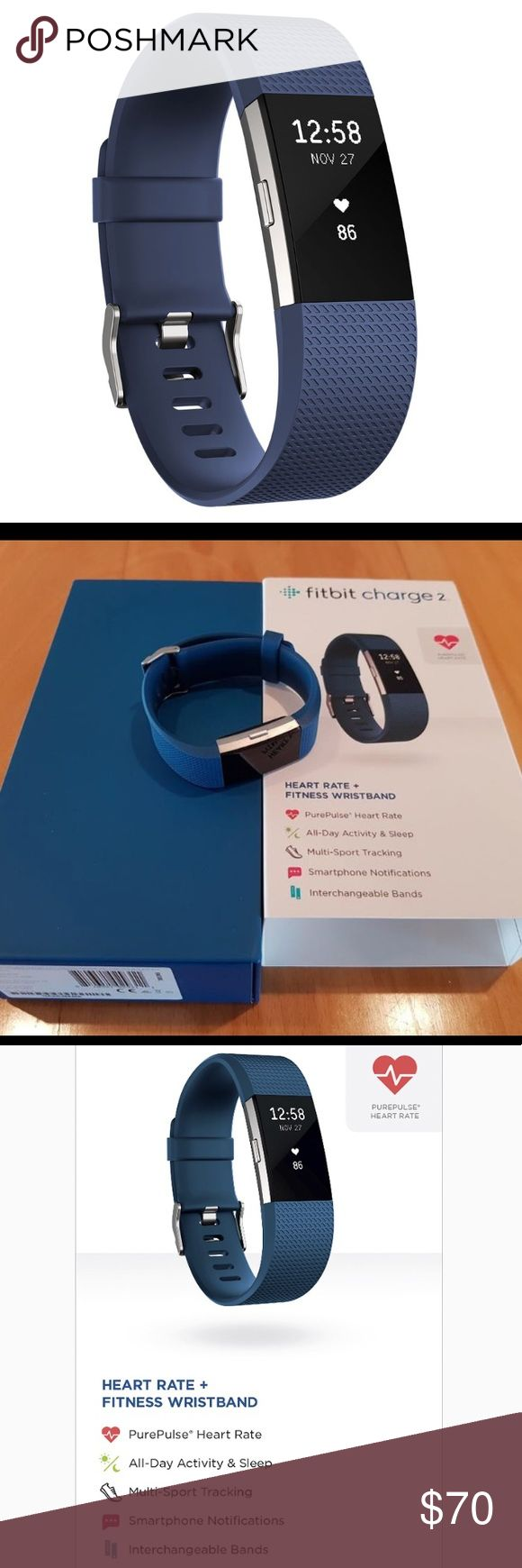 NIB Fitbit Charge 2 What's Included Fitbit Charge 2 tracker Charge 2 classic wristband Charging cable  Display: OLED Heart Rate: Like all heart rate tracking technologies, accuracy is affected by physiology, location of device, and different movements.   Battery life up to 5 days  Battery type: Lithium-polymer Charge time: One to two hours Radio transceiver: Bluetooth 4.0 Memory: Saves 7 days of detailed motion data – minute by minute Saves daily totals for past 30 days Fitbit Jewelry