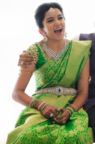 South Indian bride. Diamond Indian bridal jewelry. Jhumkis. Green silk kanchipuram sari.Braid with fresh jasmine flowers. Tamil bride. Telugu bride. Kannada bride. Hindu bride. Malayalee bride.Kerala bride.South Indian wedding.