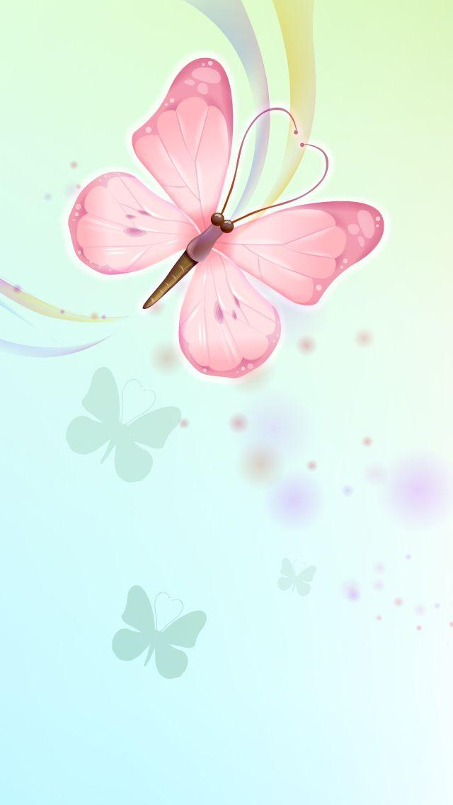 Pink Aqua Blue Butterflies iPhone Wallpaper Color