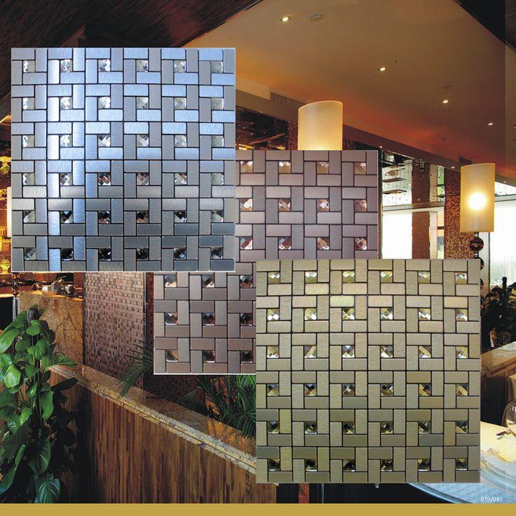 Peel and stick mosaic tiles diamond glass tile backsplash pinwheel patterns metal aluminum ACP cheap wall tiles for kitchens MAT1530; Size: 290x290x4mm; Color: Silver / Gold / Copper; Shape: Rectangle; Usage: Backsplash & Wall