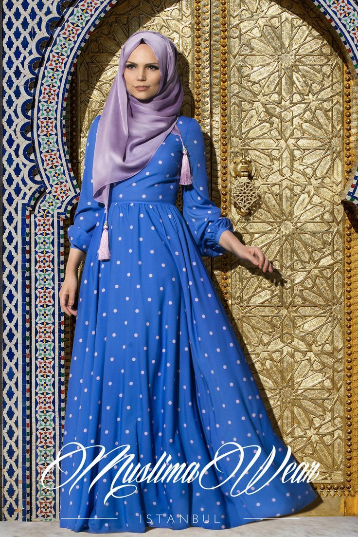 Hijab Fashion 2016/2017: Muslima Wear -2015 Dotted Dress Lila