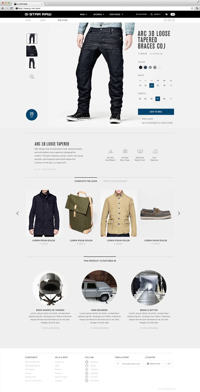 Product page Clean, Has Visual Hierarchy, Very Simple, Stays Within a Defined Grid