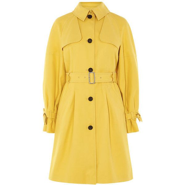 Bow Cuff Trench (€310) via Polyvore featuring outerwear, coats, yellow coat, pleated coat, trench coats, yellow trench coat and bow coat