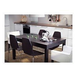 IKEA - BJURSTA, Extendable table, Two extension leaves included.Extendable dining table with 2 extra leaves seats 4-6. Possible to adjust the table size according to need.You can store the extension leaves within easy reach under the table top.Concealed lock keeps the extension leaves in place and prevents gaps between them.The clear-lacquered surface is easy to wipe clean.