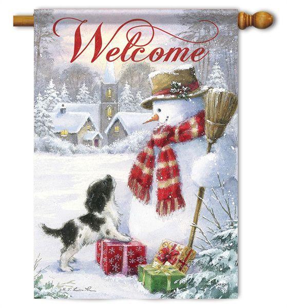 Winter Garden Flags Part - 18: Snowman And Puppy Garden Flag