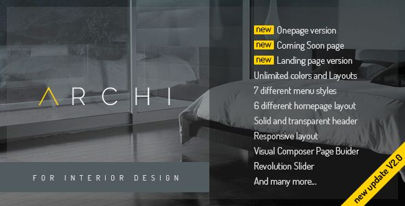 Archi specially made for Interior Design services, Dining Room, Exterior Design, Kitchen Design, Living Room Design, Master Bedroom Design, Cottage, etc… . Archi help you to build beauty and modern website in no time. Archi has beauty design and bunch of features to make your website stand out of crowd. Powered by HTML 5, CSS 3, jQuery with flexibility of Bootstrap 3. Get Archi now!