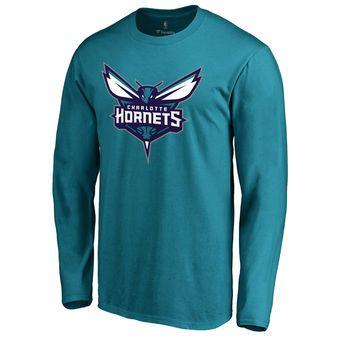 Charlotte Hornets Teal Primary Logo Long Sleeve T-Shirt