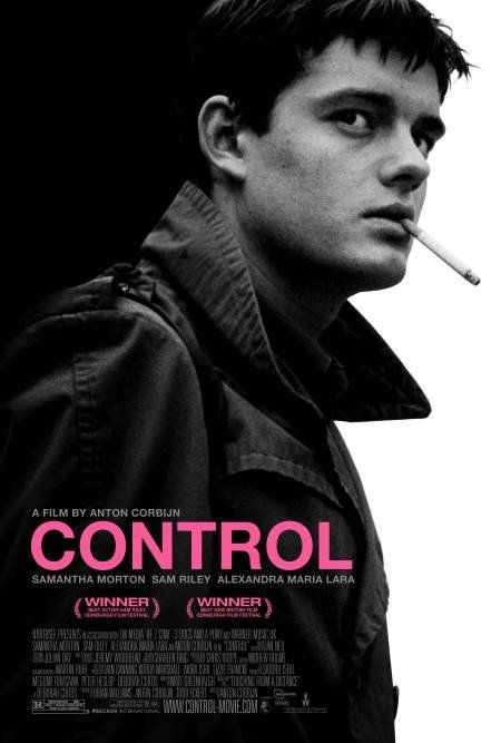 CONTROL (2007) -- a biographical film about the life of Ian Curtis, singer of the late-1970s English post-punk band Joy Division -- starring Sam Riley as Ian Curtis -- http://en.wikipedia.org/wiki/Control_(2007_film)