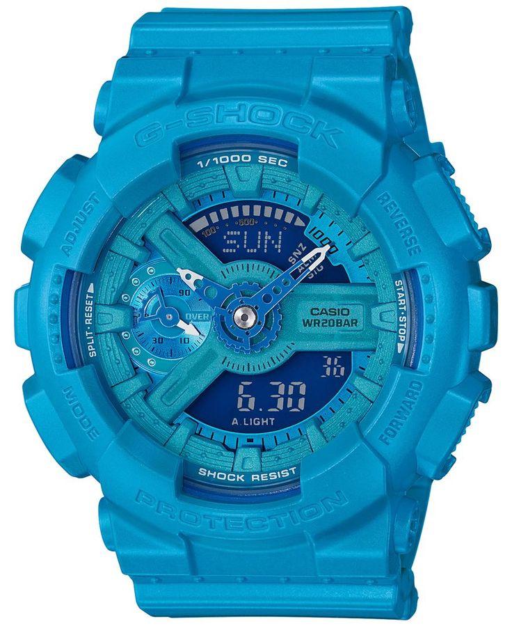 G-Shock Women's Analog-Digital S-Series Blue Resin Strap Watch 46x49mm GMAS110VC-2A