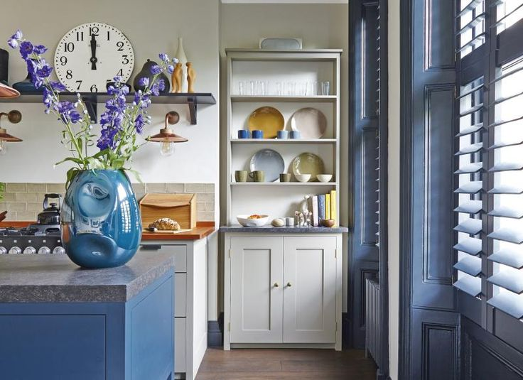 gorgeous scaffolding board shelves see more neutral kitchen with dark blue accents