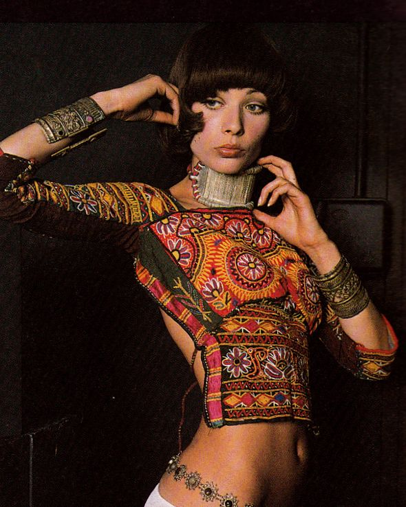 Zandra Rhodes, Ensemble, photographed by Peter Knapp, 1970s
