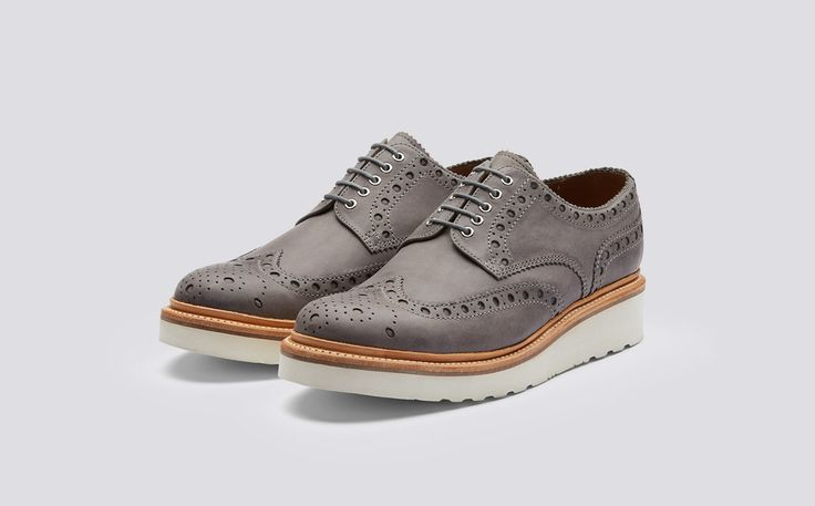 Archie | Mens Gibson Brogue in Anthracite Calf Leather with a White Wedge Sole | Grenson Shoes - Three Quarter View